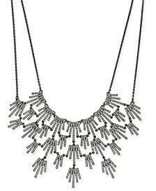 "I.N.C. Hematite-Tone Crystal Burst Statement Necklace, 16"" + 3"" extender, Created for Macy's"