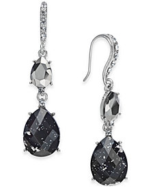 I.N.C. Hematite-Tone Crystal Foil Drop Earrings, Created for Macy's