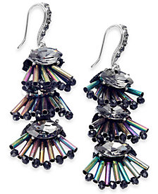 I.N.C. Silver-Tone Iridescent Bead Cluster Drop Earrings, Created for Macy's
