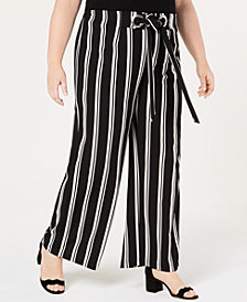 NY Collection Plus & Petite Plus Size Striped Wide-Leg Pants