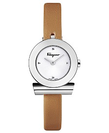 Ferragamo Women's Swiss Gancino Brown Leather Strap Watch 22mm