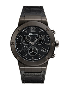 Ferragamo Men's Swiss Chronograph F-80 Gunmetal Leather & Black Caoutchouc Strap Watch 44mm