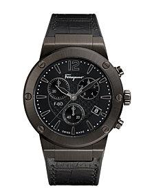 Ferragamo Men's Swiss Chronograph F-80 Gunmetal Leather & Black Caoutchouc Strap Watch 44mm