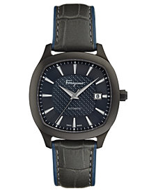 Ferragamo Men's Swiss Automatic Time Black Leather Strap Watch 41x41mm