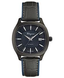 Ferragamo Men's Swiss Automatic Time Black Leather Strap Watch 41x41mm