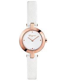 Women's Swiss Miniature White Saffiano Leather Strap Watch 26mm