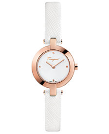 Ferragamo Women's Swiss Miniature White Saffiano Leather Strap Watch 26mm