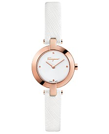 Ferragamo Women's Swiss Miniature White Saffiano Leather Strap Watch 26mm