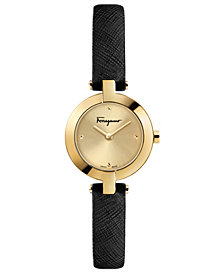 Ferragamo Women's Swiss Miniature Black Saffiano Leather Strap Watch 26mm