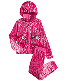 Hello Kitty Little Girls 2-Pc. Crushed-Velvet Hoodie & Pants Set