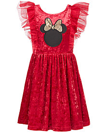 Disney Little Girls Minnie Mouse Crushed Velvet Dress