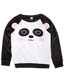 Awake Toddler Girls Panda-Print Faux-Fur Sweater