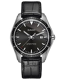Rado Men's Swiss HyperChrome Black Leather Strap Watch 44.9mm