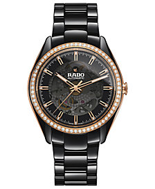 Rado Women's Swiss Automatic HyperChrome Diamond (9/10 ct. t.w.) Black High-Tech Ceramic Bracelet Watch 42mm