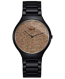 Women's Swiss True Thinline Black High-Tech Ceramic Bracelet Watch 39mm