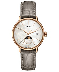 Rado Women's Swiss Coupole Classic Gray Leather Strap Watch 34mm