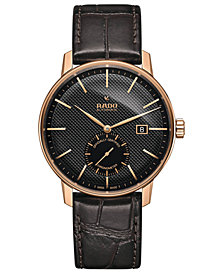 Rado Unisex Swiss Automatic Chronometer Coupole Classic Black Leather Strap Watch 41mm