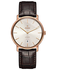 Rado Men's Swiss Automatic DiaMaster Brown Leather Strap Watch 41mm