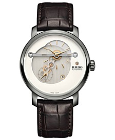 Men's Swiss Automatic DiaMaster Diamond-Accent Brown Leather Strap Watch 41mm