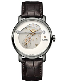 Rado Men's Swiss Automatic DiaMaster Diamond-Accent Brown Leather Strap Watch 41mm