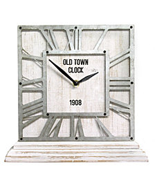 Stratton Home Decor Distressed White Table Top Clock