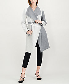 Alfani Petite Draped Colorblocked Coat, Created for Macy's