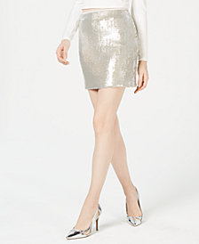 Bar III Sequined Mini Skirt, Created for Macy's