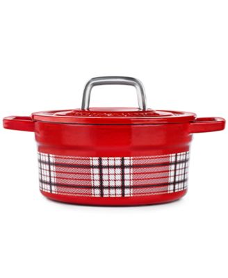 Red Plaid 2-Qt. Enamel Cast Iron Dutch Oven, Created for Macy's
