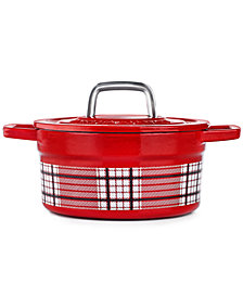 Martha Stewart Collection Red Plaid 2-Qt. Enamel Cast Iron Dutch Oven, Created for Macy's