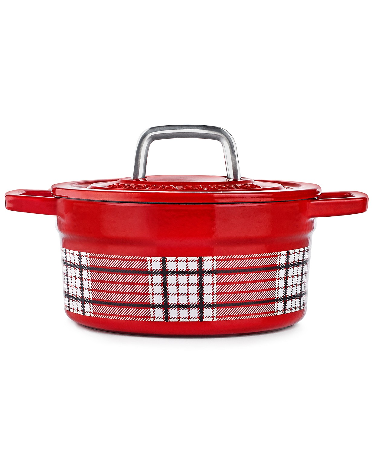 Martha Stewart Collection Red Plaid 2-Qt. Dutch Oven