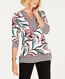JM Collection Embellished Printed-Border Top, Created for Macy's