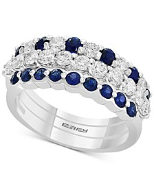 EFFY® 3-Piece Set Sapphire (3/4 ct. t.w.) & Diamond (9/10 ct. t.w.) Stackable Rings in 14k White Gold