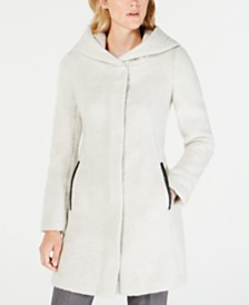 Cole Haan Faux-Leather-Trim Hooded Walker Coat