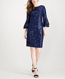 SL Fashions Sequined Ruffle-Sleeve Sheath Dress