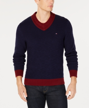 1920s Mens Sweaters, Pullovers, Cardigans Tommy Hilfiger Mens Vince Colorblocked Cable-Knit V-Neck Sweater Created for Macys $66.00 AT vintagedancer.com
