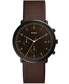 Fossil Men's Chronograph Chase Timer Whiskey Leather Strap Watch 42mm