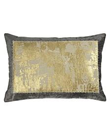 Linen Distressed Metallic Lace Pillow