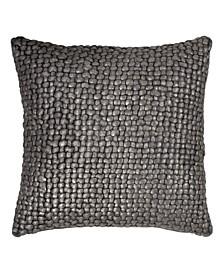 Chocolate Metallic Palm Basketweave Pillow