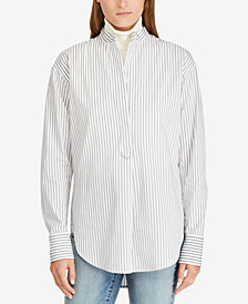 Lauren Ralph Lauren Striped Band-Collar Cotton Shirt