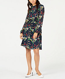 Monteau Petite Floral Long-Sleeve Dress