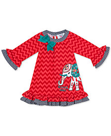 Rare Editions Baby Girls Coral Chevron & Grey Dot 2-Tone Elephant Dress