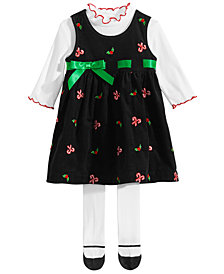 Blueberi Boulevard Baby Girls 3-Pc. Candy Cane Jumper Set