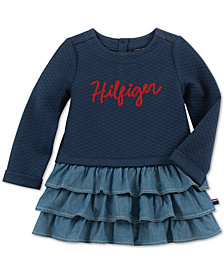 Tommy Hilfiger Baby Girls Quilted Tiered Denim Ruffle Dress