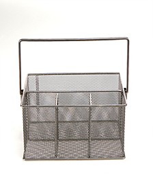 Storage Basket Organizer, Utensil Holder, Silver
