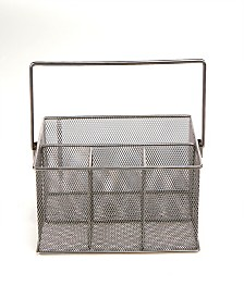 Mind Reader Storage Basket Organizer, Utensil Holder, Silver
