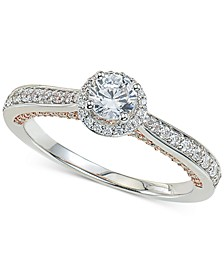 Diamond Halo Engagement Ring (3/4 ct. t.w.) in 14k White and Rose Gold