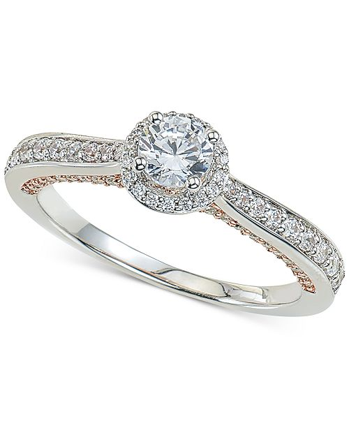 Macy's Diamond Halo Engagement Ring (3/4 ct. t.w.) in 14k White and Rose Gold