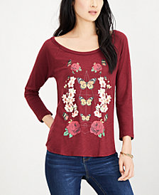 Lucky Brand Butterfly Floral Top