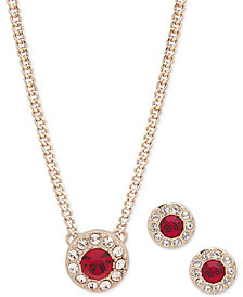 "Givenchy Pavé Stone Pendant Necklace & Stud Earrings Set, 16"" + 3"" extender"
