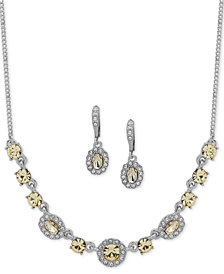 """Givenchy Crystal & Stone Collar Necklace & Oval Drop Earrings Box Set, 16"""" + 3"""" extender, Created for Macy's"""